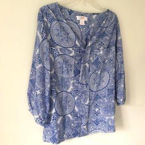 Joe Fresh Blue print blouse